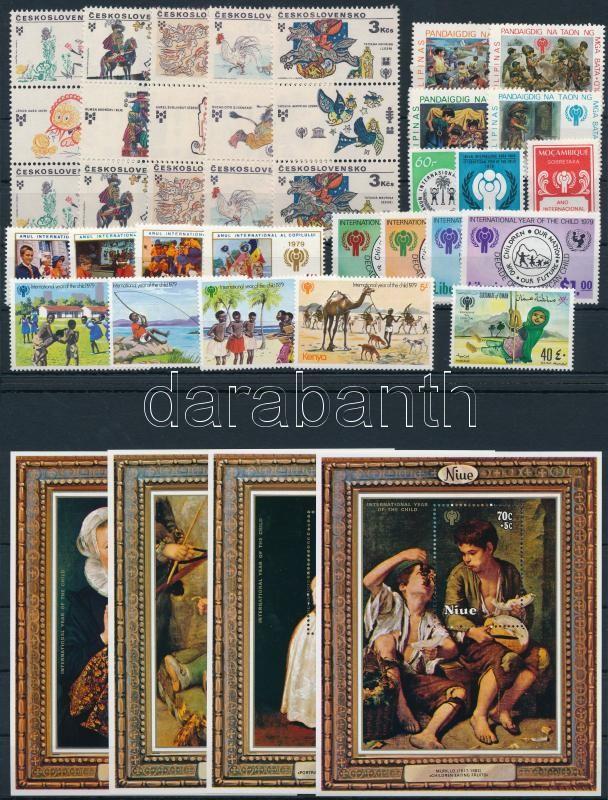 International Children Year 20 diff stamps + 1 coupon set in stripe of 3 + 1 block set, Nemzetközi Gyermekév 20 klf bélyeg + 1 szelvényes sor hármascsíkokban + 1 blokksor (4 klf) 2 stecklapon