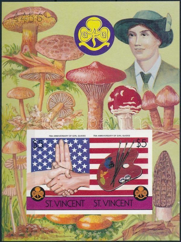 Girl Scout, mushrooms imperforated block, Cserkészlány, gomba vágott blokk