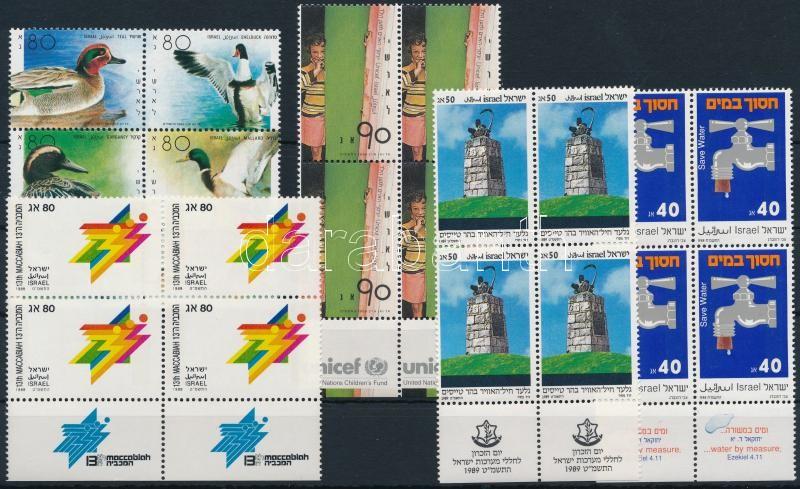 1988-1989 5 diff blocks of 4 with tab, 1988-1989 5 klf tabos négyestömb