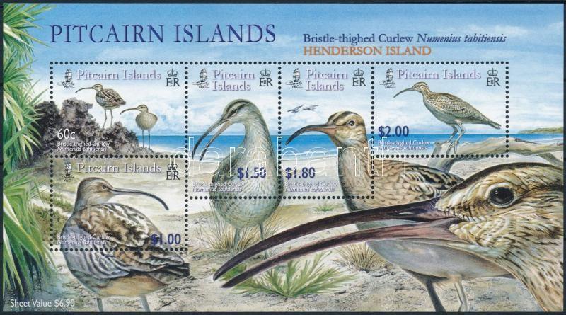Henderson Island Curlew bird block  (crease), A Henderson-szigeti pólingmadár blokk (törés)