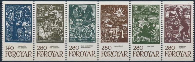 Tale Illustrations stripe of 6 from stampbooklet, Meseillusztrációk hatoscsík bélyegfüzetből