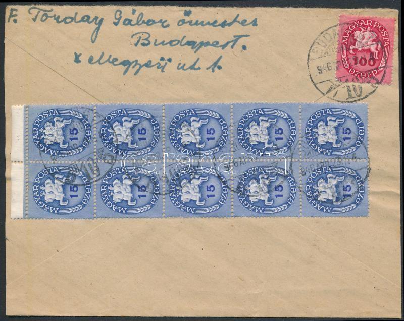 Inflation cover, (13. díjszabás) Helyi levél Lovasfutár 15eP tízes tömbbel + 100eP bérmentesítéssel (boríték szétnyitva)