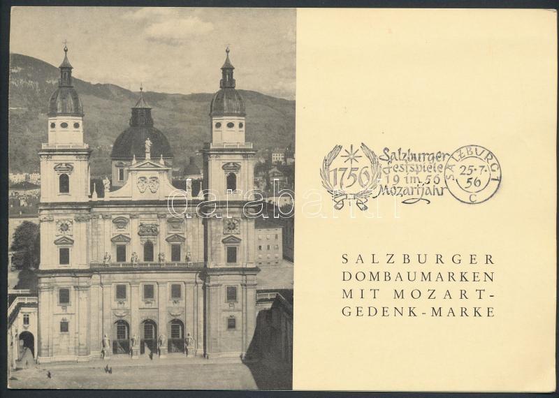 Salzburg Festival memorial Mozart and Reconstruction  stamps, Salzburgi ünnepi játékok emléklap Újjáépítés és Mozart bélyegekkel