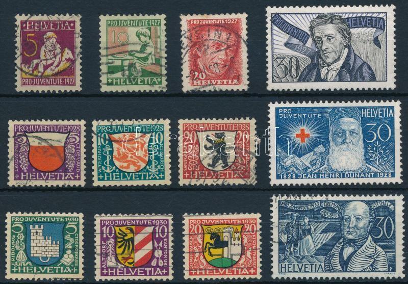 1927-1928, 1930 3 Pro Juventute set, 1927-1928, 1930 3 klf Pro Juventute sor