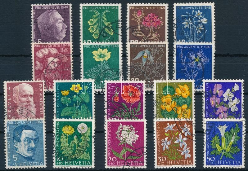 1948-1949, 1959-1960 4 Pro Juventute; Flower set, 1948-1949, 1959-1960 4 klf Pro Juventute; Virág sor