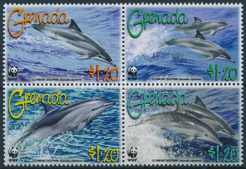WWF: Delfin sor négyestömbben, WWF: Dolphin set in block of 4