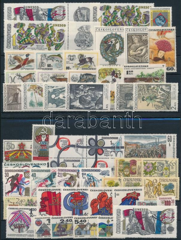 9 diff sets + 10 stamps + 1 block of 4, 9 klf sor + 10 klf önálló érték + 1 négyestömb 2 db stecklapon