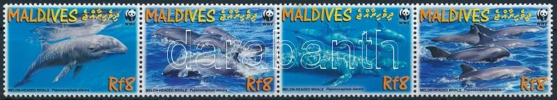 WWF Dolphin set stripe of 4 + 4 FDC, WWF: Delfin sor négyescsíkban + 4 FDC