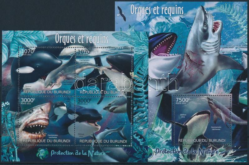 Shark and killer whale minisheet + block, Cápa és a kardszárnyú delfin kisív + blokk