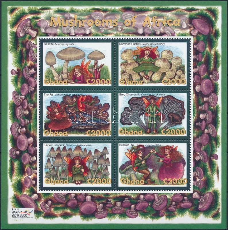 International Stamp Exhibition, London, African mushrooms and spirits minisheet, Nemzetközi bélyegkiállítás, London, afrikai gombák és szellemeik kisív