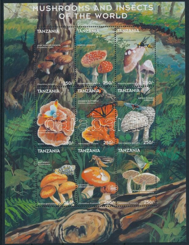 Gombák és rovarok 2 db kisív, Fungi and insects 2 mini sheets
