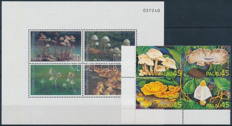 1989-1996 Mushrooms 2 blocks + 2 sets in blocks of 4, 1989-1996 Gomba motívum 2 db blokk + 2 sor négyestömbben