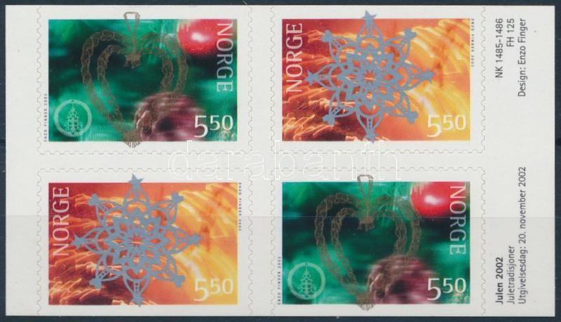Christmas self adhesive block of 4, Karácsony öntapadós 4-es tömb