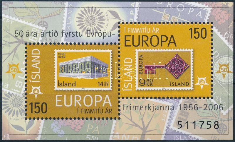50th anniversary of Europa CEPT stamp block, 50 éves az Europa CEPT bélyeg blokk