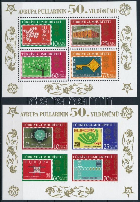 Europa CEPT block pair, 50 éves az Europa CEPT bélyeg blokkpár