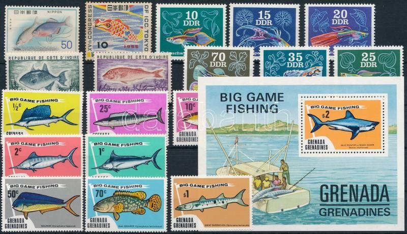 Fishes 18 stamps + 1 block, Hal motívum 18 db bélyeg és 1 blokk