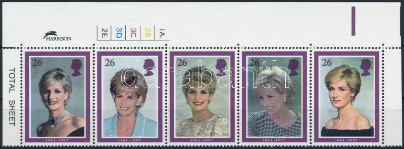 Princess Diana set in corner stripe of 5, Diana hercegnő sor ívsarki ötöscsíkban