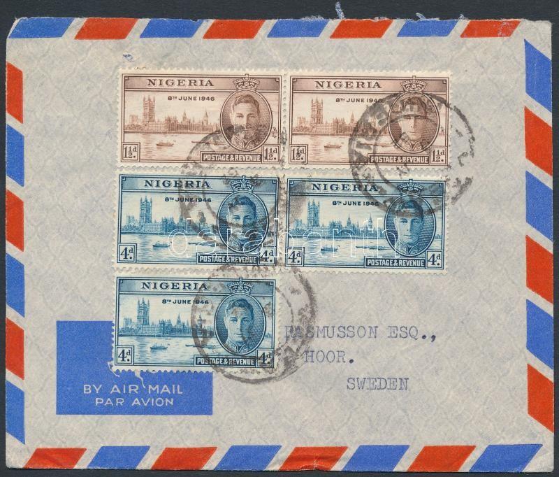 Air mail cover to Sweden, Légi levél Svédországba