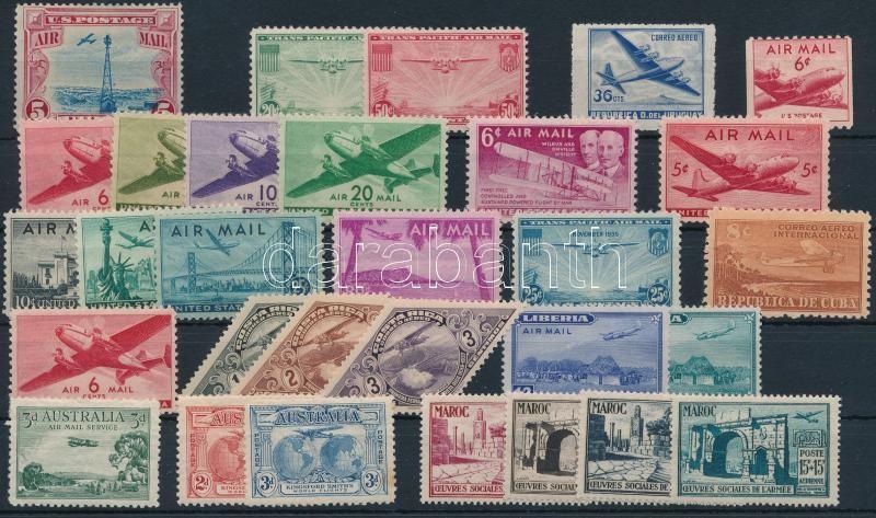 Planes 30 diff stamps before 1950, Repülő motívum 30 klf 1950 előtti bélyegen