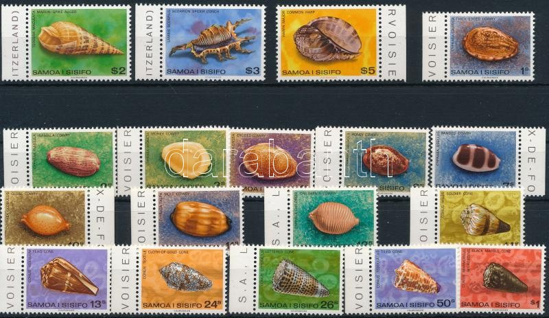 1978-1980 Clams 18 diff stamps with sets, 1978-1980 Kagyló motívum 18 klf bélyeg, közte sorok
