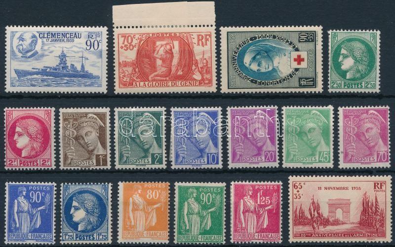 France 1938-1939 17 stamps, Franciaország 1938-1939 17 db bélyeg