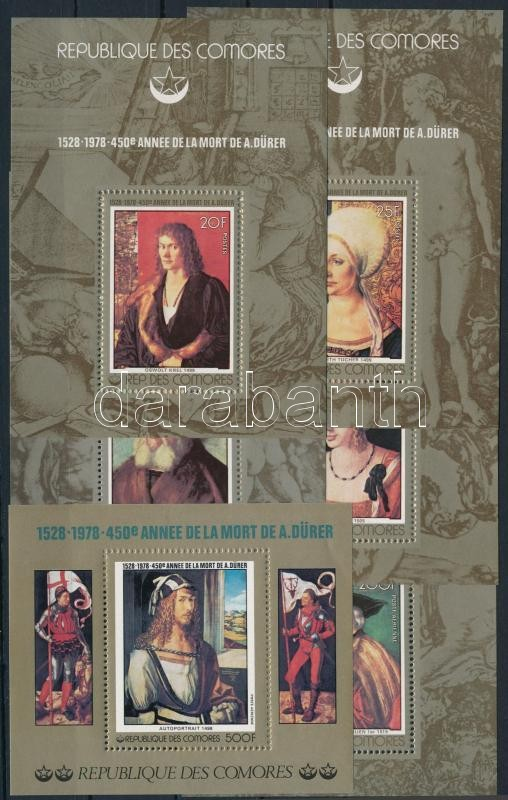Dürer paintings 5 diff block of 1 + block, Dürer festmény  5 klf egyes blokk + blokk