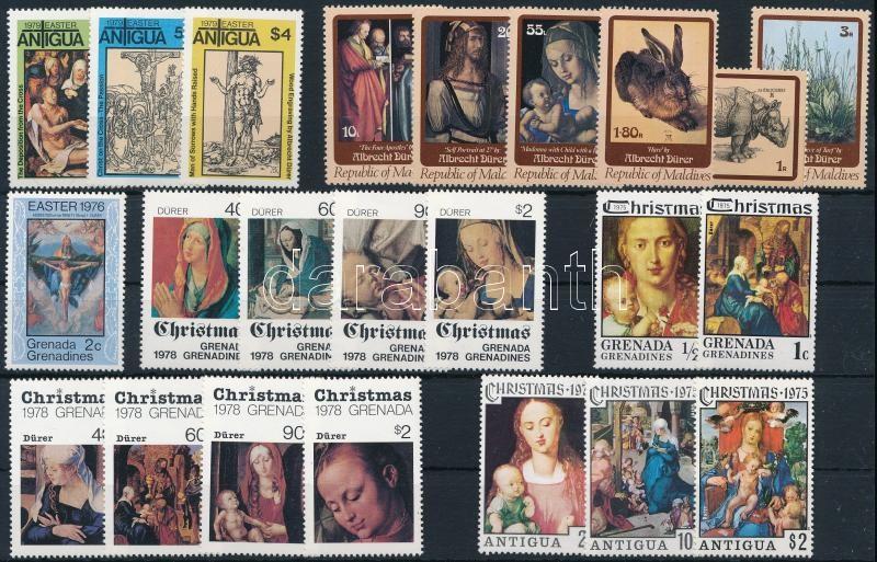 Dürer paintings 23 diff stamps + 4 diff blocks, Dürer festmény motívum 23 klf bélyeg + 4 klf blokk 2 stecklapon