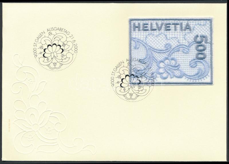 Flower embroidered self adhesive stamp on FDC, Virág hímzett öntapadós bélyeg FDC-n