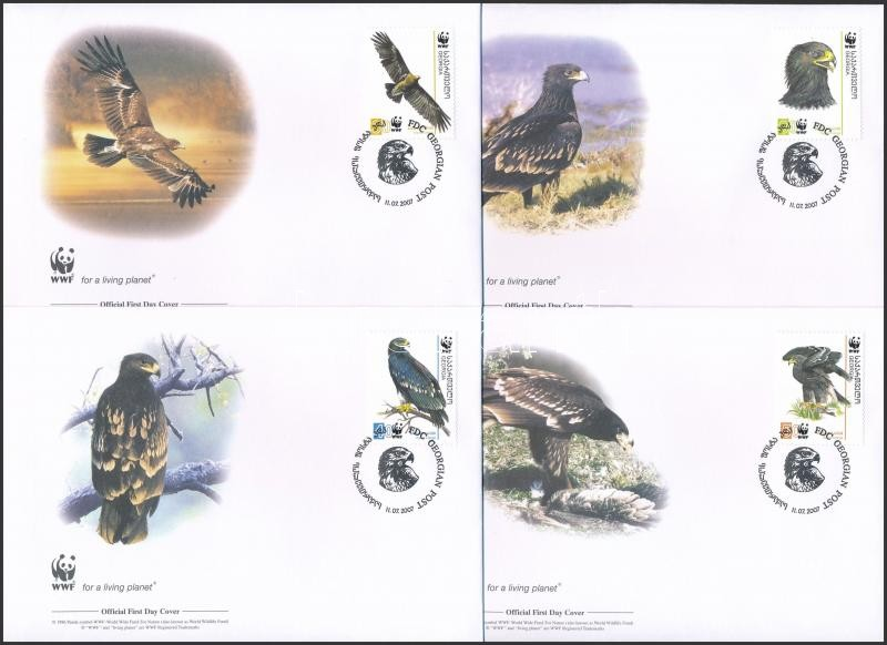 WWF: Black Eagle set on 4 FDC, WWF: Fekete sas sor 4 db FDC-n
