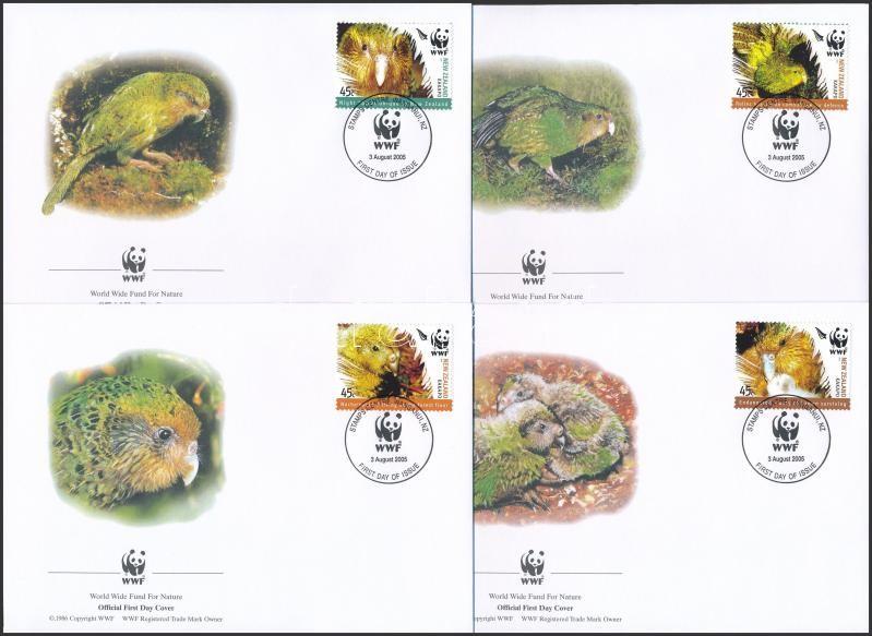 WWF: Kakapo set in pairs + 4 FDC, WWF: Kakapó sor párokban + 4 db FDC-n