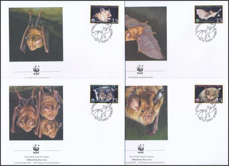 WWF: Mediterranean horseshoe bat set on 4 FDC, WWF: Kereknyergű patkósdenevér sor 4 db FDC-n