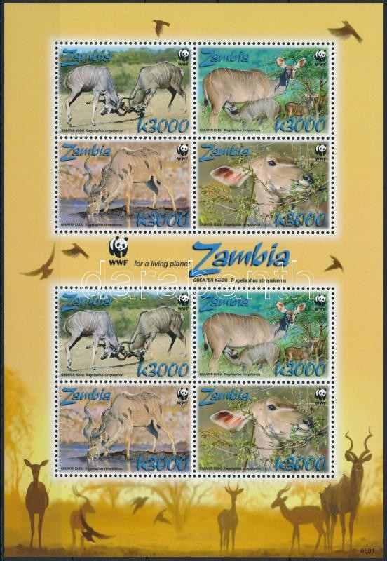 WWF: greater kudu minisheet, WWF: Nagy Kudu kisív