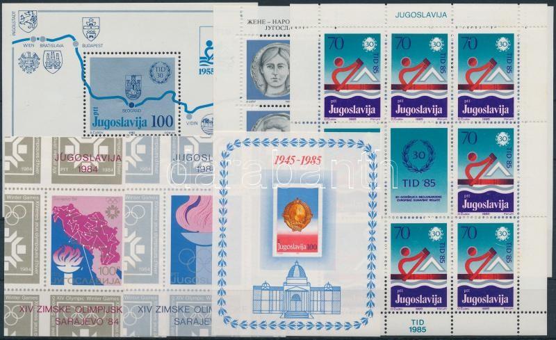 1984-1985 4 diff blocks + 2 diff minisheets, 1984-1985 4 klf blokk + 2 klf kisív