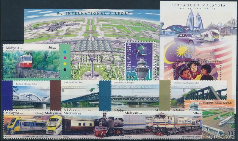 1998-2010 Train 9 diff stamps + 2 blocks, 1998-2010 Vasút motívum 9 klf bélyeg + 2 blokk