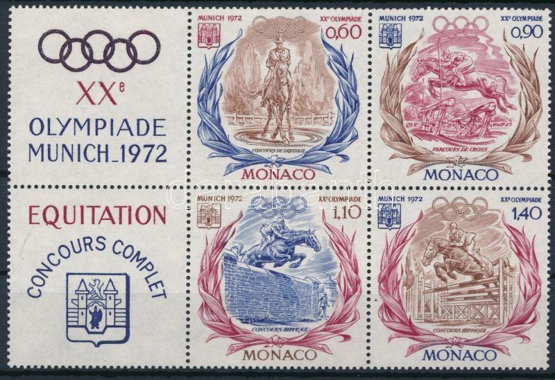 Summer Olympics, Munich coupon block of 4, Nyári Olimpia, München bal oldali szelvényes 4-es tömb