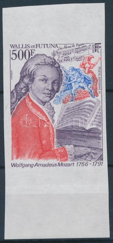 Wolfgang Amadeus Mozart margin imperf stamp, Wolfgang Amadeus Mozart ívszéli vágott bélyeg