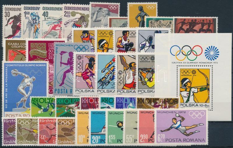1971-1974 Olimpia motívum 37 db klf bélyeg, közte teljes sorok + 1 db blokk, 1971-1974 Olympics 37 diff stamps with sets + 1 block