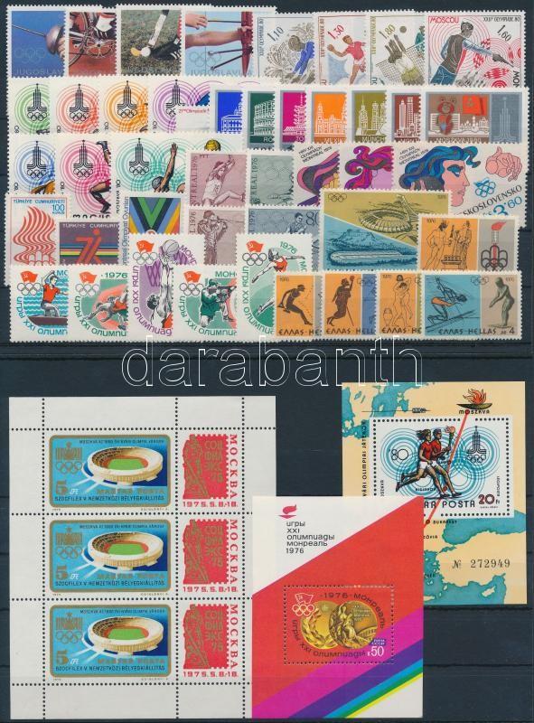 1976-1980 Olympics 44 stamps with sets + 3 blocks, 1976-1980 Olimpia motívum 44 db bélyeg, közte teljes sorok + 3 db blokk, 2 db stecklapon