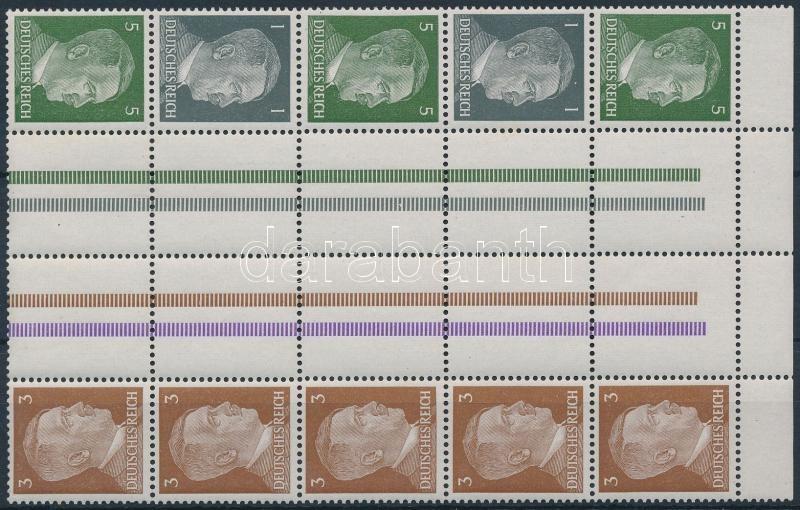 Hitler stamp-booklet sheet with 5 sheet-centered pair, Hitler 5 db ívközéprészes párt tartalmazó bélyegfüzet összefüggés