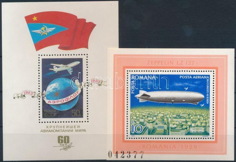 1974-1983 Plane 1 set + 2 blocks + 14 stamps, 1974-1983 Repülő motívum 1 db sor + 2 db blokk + 14 db önálló érték