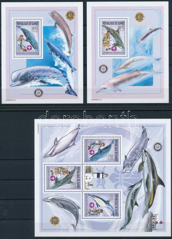 Scouts and dolphins minisheet + 2 blocks, Cserkészek és delfinek kisív + 2 blokk