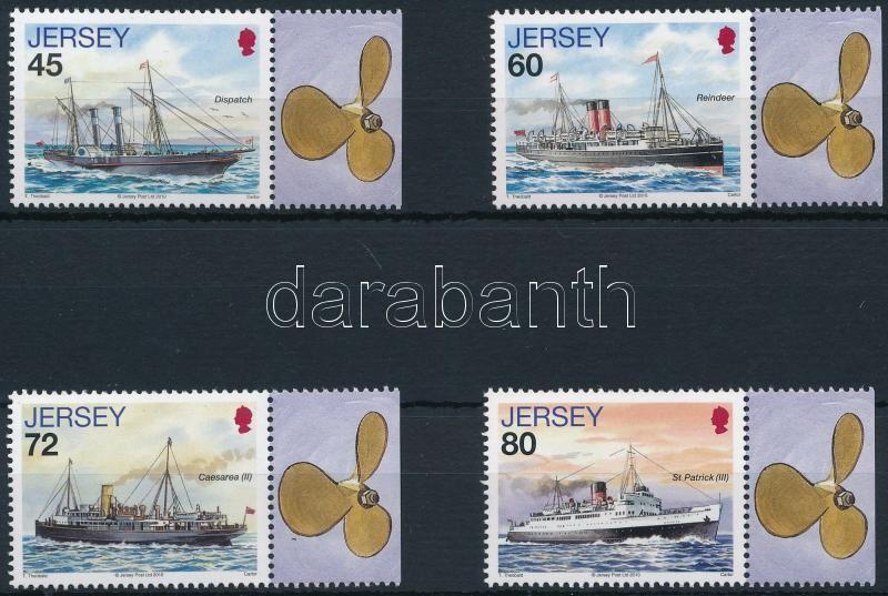 Mail boat 4 values with coupon, Postahajó 4 db szelvényes érték