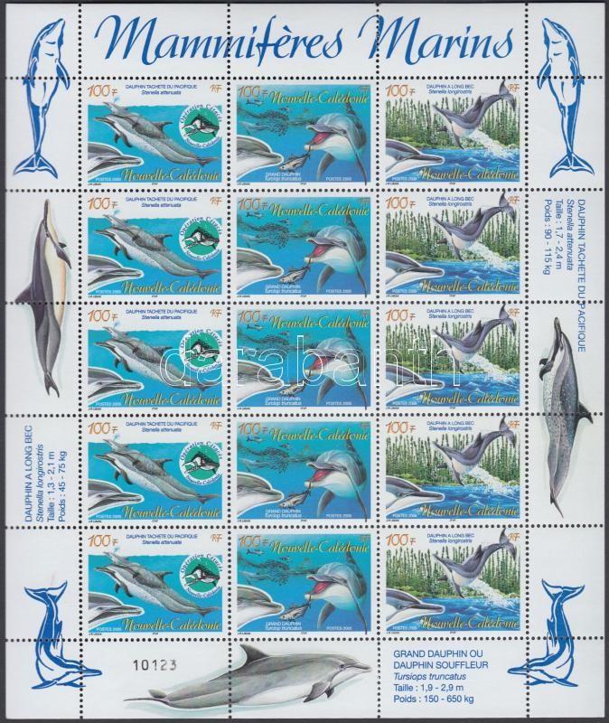 Campaign to protect marine mammals; dolphin mini sheet, Tengeri emlősök védelme kampány; Delfin kisív