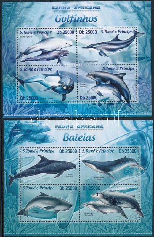 Dolphins and whales mini sheet pair, Delfinek és bálnák kisív pár