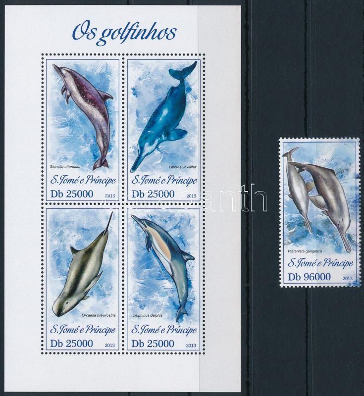 Dolphins mini sheet + stamp from block, Delfinek kisív + blokkból kitépett bélyeg