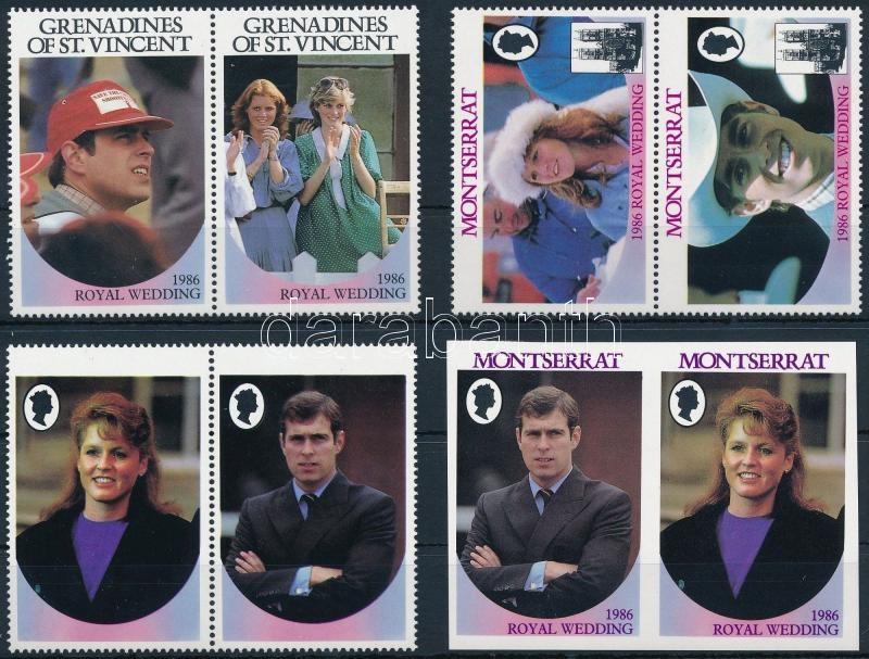 Sarah Ferguson and Prince Andrew 4 countries, Sarah Ferguson és Andrew herceg kis motívum összeállítás 4 országból: párok, vágott értékek, értékjelzés nélküli minta példányok 3 stecklapon