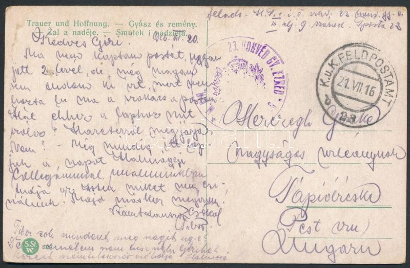 """Tábori posta képeslap """"M.KIR. 23. HONVÉD GY.EZRED PARANCSNOKSÁG"""" + """"FP 23 b"""", Austria-Hungary Field postcard"""
