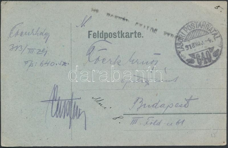 """Austria-Hungary field postcard, Tábori posta levelezőlap """"HONVÉD GYALOG EZRED"""" + """"TP 640"""""""