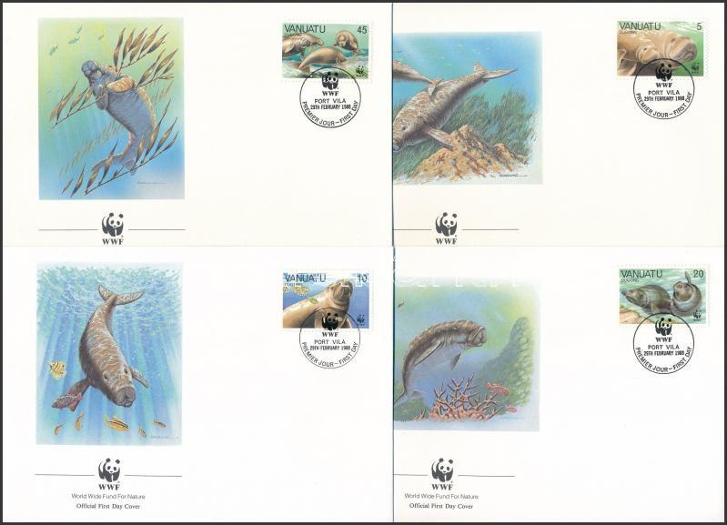 WWF: Dugong set on 4 FDC, WWF: Dugong sor 4 db FDC-n