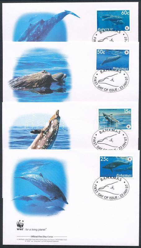 WWF: Dolphin set 4 FDC, WWF: Delfin sor 4 FDC-n